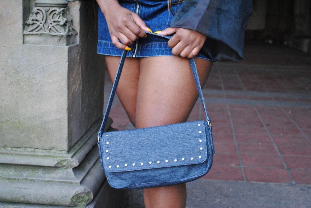 one shoulder - denim mini skirt - fur slides - denim shoulder bag - zara - pull&bear - boohoo - Bethesda Terrace