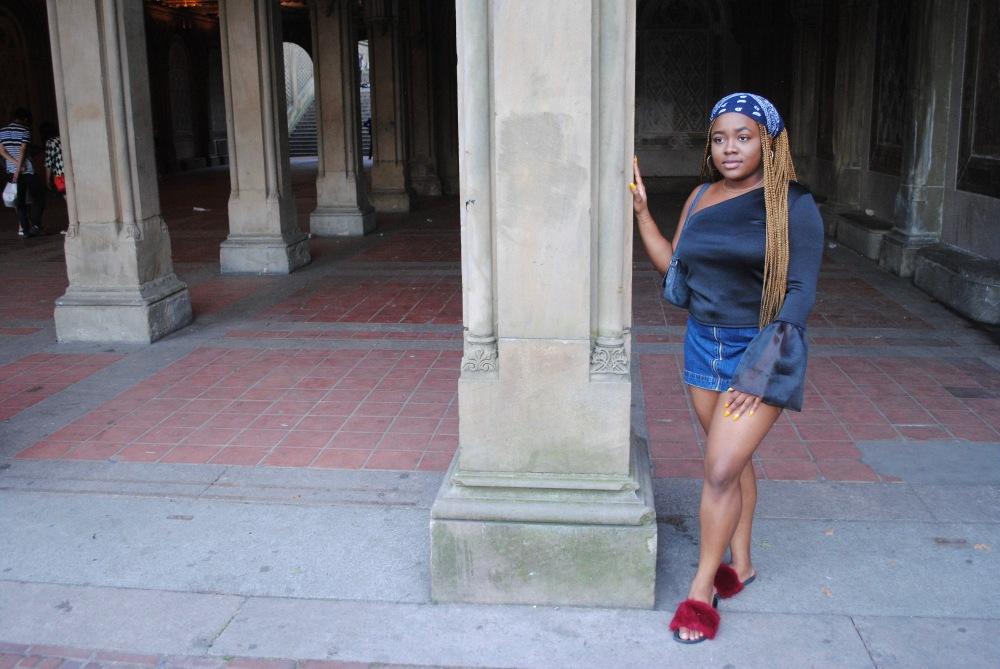 one shoulder - denim mini skirt - fur slides - denim shoulder bag - zara - pull&bear - boohoo