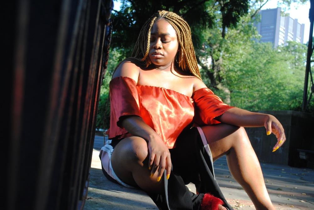 silk orange top - off shoulder cropped top - side split pants - prettylittlething - fashionnova - fur slides - central park - garden