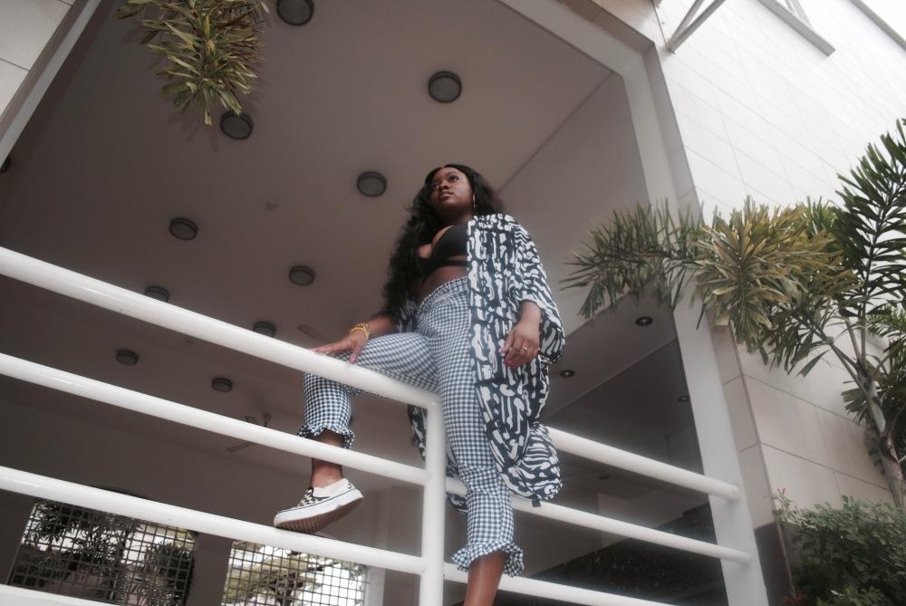 monochrome - braltte - checkered pants - vans - prints 9