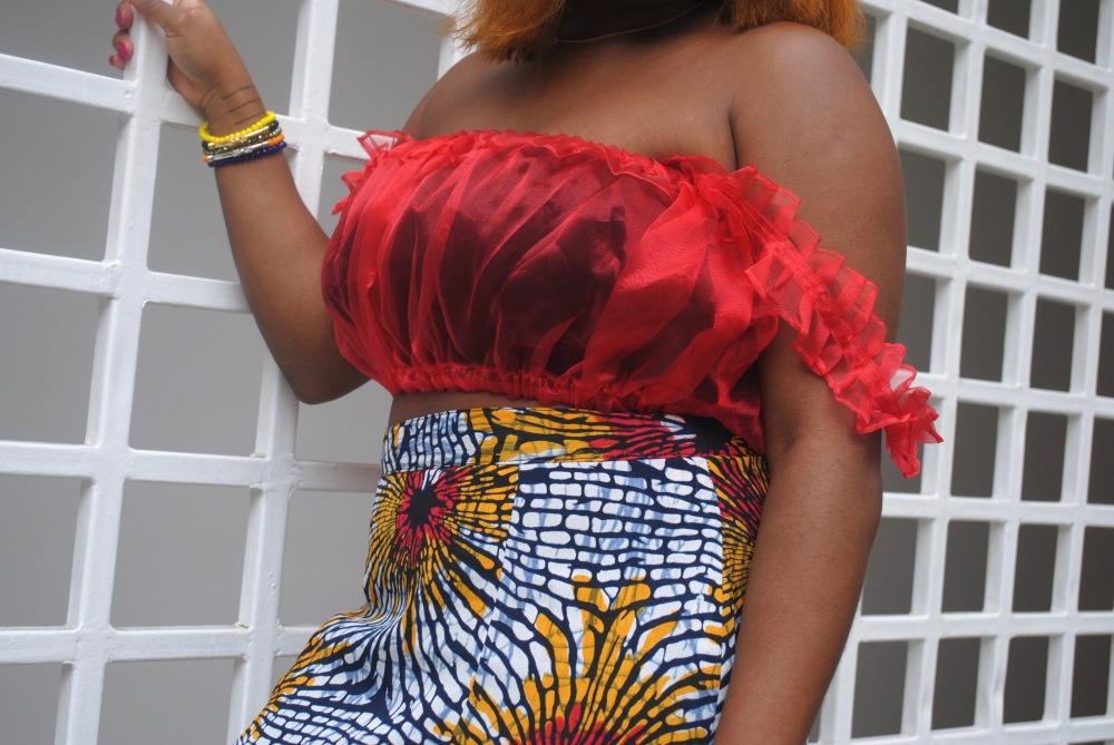 red ruffle top - ankara skirt - print - africa 10