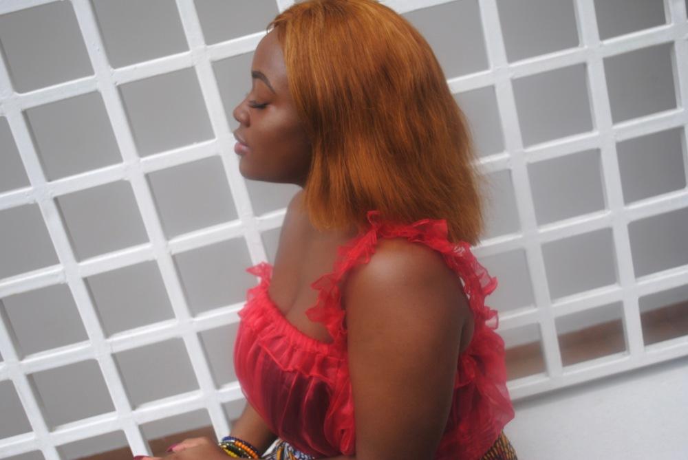 red ruffle top - ankara skirt - print - africa 1