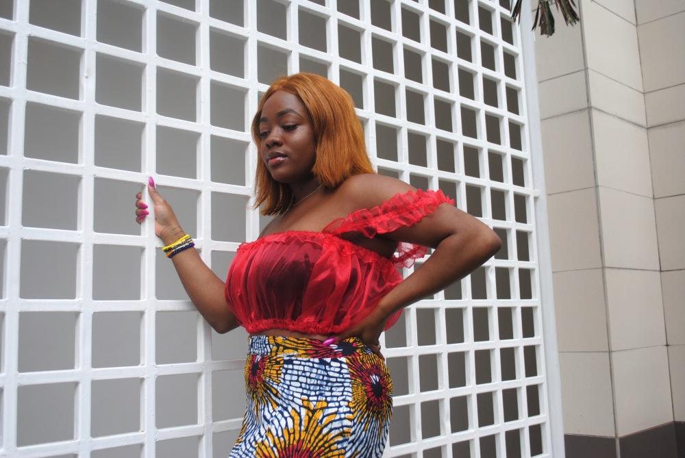 red ruffle top - ankara skirt - print - africa 14