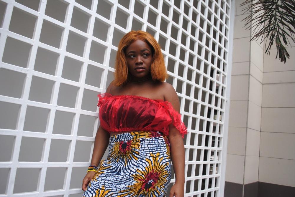 red ruffle top - ankara skirt - print - africa 16