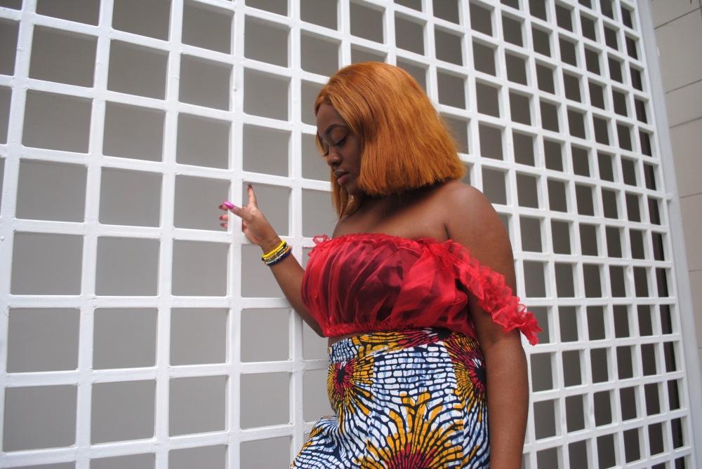 red ruffle top - ankara skirt - print - africa 17