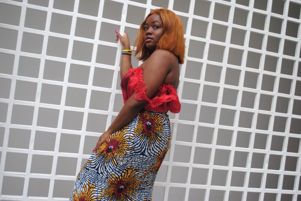 red ruffle top - ankara skirt - print - africa 19