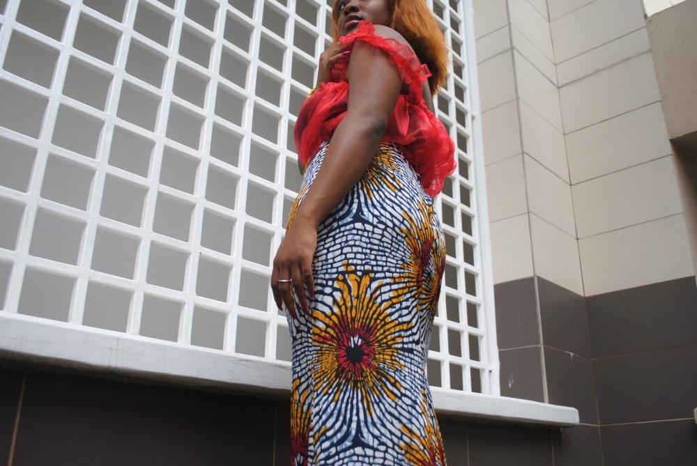 red ruffle top - ankara skirt - print - africa 7
