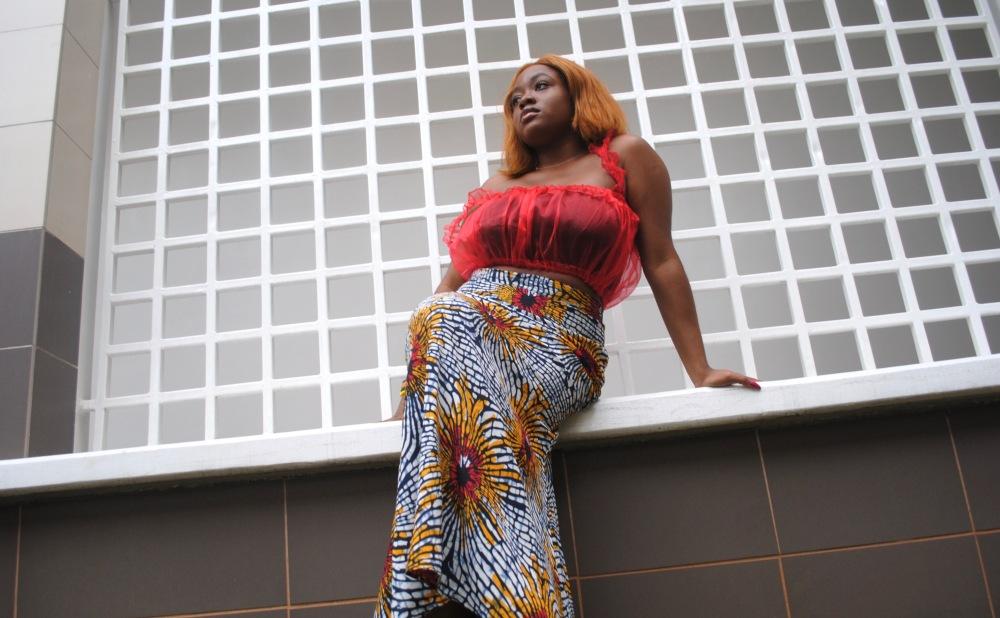 red ruffle top - ankara skirt - print - africa 8