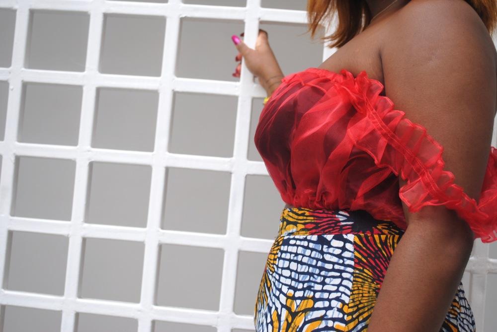 red ruffle top - ankara skirt - print - africa 9